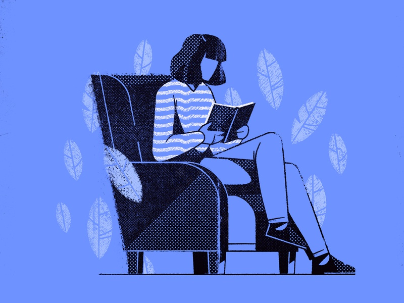 Relaxing woman character Illustration character stroke hellsjells halftone nature appillustration blue lines chair book chilling monochrome texture sitting girl woman relaxing reading