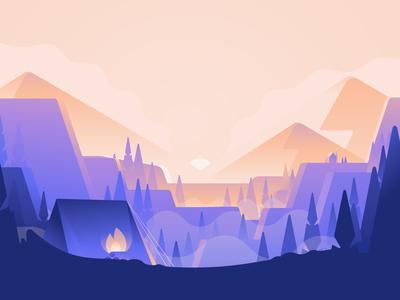 Camping Web Header Illustration