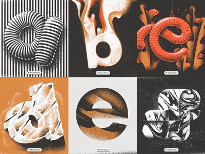 Personal Typetober Illustrations 2019 composition layout everydaydesign typetreatment noise dark lowercase space freeze worm typetogether dailytype 36daysoftype letter inktober typetober type illustration texture hellsjells