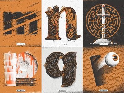 Personal Typetober Illustrations 2019 vol3 sword typetreatment typetogether typetober type texture noise lowercase letters letter layout grainy inktober illustration hellsjells everydaydesign dailytype dailylettering composition 36daysoftype