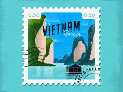 Vietnam Travel Stamp dream traveldestination travel wanderlust adventure truegrit grainy dribbble boat water vietnam dribbbleweeklywarmup textured stamp hellsjells illustration