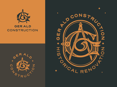 GA Monogram Identity Design oval ornamental typography type victorian hellsjells letters mark letter renovations logomark identity logo construction monogram lettermark historical caliper