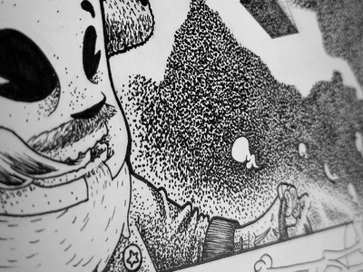 Whip's WIP paper pen pointillism black and white bw