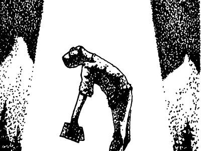 Abducted ufo alien et dotwork pointillism illustration bw