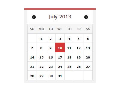 CSS Calendar ui interface calendar css minimal red white grey