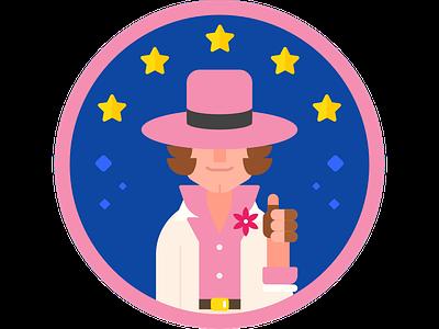 Tracker Jack patch sticker minimal character pink blue tracker illustration street fighter cracker jack tracker jack