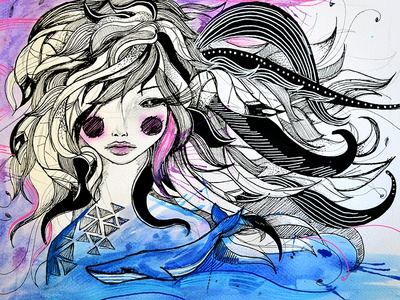 En una chica, un mar fish waves ocean drawing lines linear illustration girl woman whale sea pencil watercolors