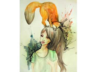 Zorros en mi cabeza curves pencil and watercolors wild animal woman fox watercolor drawing illustration