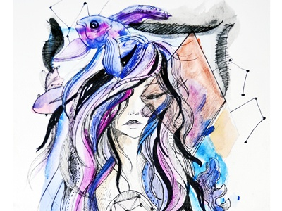 Mujer Pez pencil vectors water colors waves ocean sea fish baby woman drawing illustration