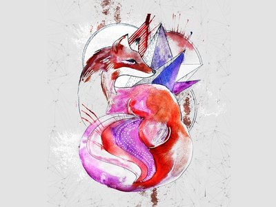 Fox Colors abstract illustrator photoshop watercolor spots geometric shapes fox