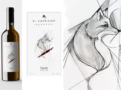"Avance Etiqueta Vino Reserva ""El Capricho"" logotype logo brand design wine fox merchandising label drawing illustration digital art"