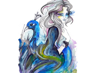 Chica Pajaro cartoon feathers bird woman pencil watercolors photoshop design 2d digital art drawing illustration