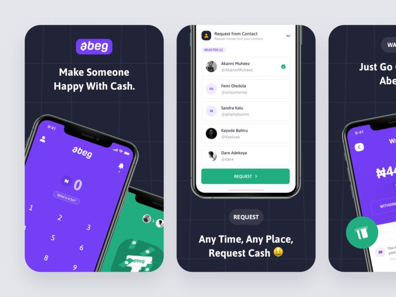 Appstore Screenshots ux payment p2p abeg social fintech finance nigeria app design playstore appstore ui