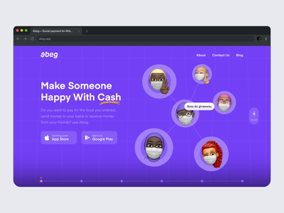 Abeg Website Homepage p2p cash abeg app abeg purple memoji icon typography web fintech app website invite nigeria ux design ui