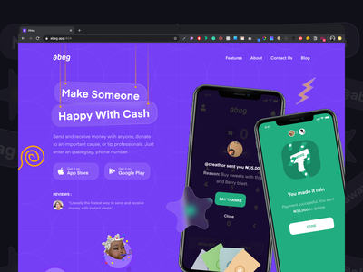 New Landing Page konoha landing page website fast abeg cash money fintech app design ui