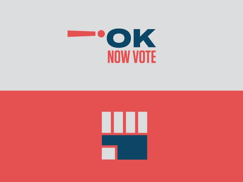 OK, NOW VOTE! state election vote voting okc oklahoma city icon design brand branding icons oklahoma clean simple logo mark