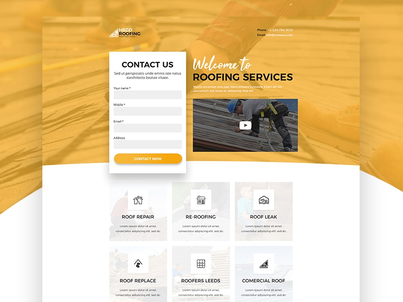 Roofing Landing Page interface strategy design seekers career jobs uiux creative landingpage