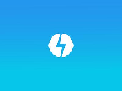 Brain + Bolt brain design logo lightning electric branding bolt