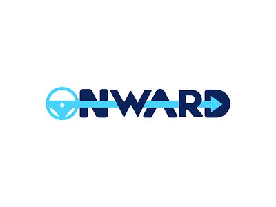 Onward + Arrow + Steering Wheel onward direction arrow steering wheel blue logo branding