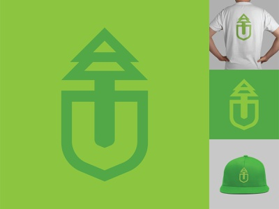 Ultra Landscaping Logo thick fresh graphic design lettermark vector logo icon branding dig outdoors leaf green flat landscaping shovel tree