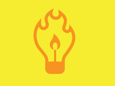 IDEA | SMALLER.SMARTER.MIGHTIER icon graphic design vector illustration logo branding power light lightbulb flame lit match idea logitech bulb fire