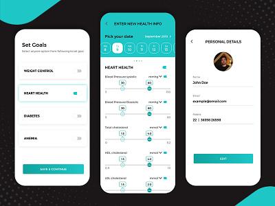 UI for The Health Tracker Mobile App health app health tracker ui app design mobile app