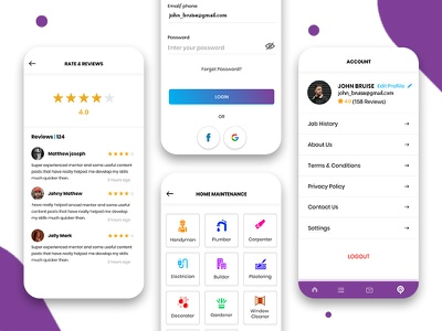 On-Demand Local Service Provider App Design home services app home services app ui ux user interface design app uiux app ui app concept app design