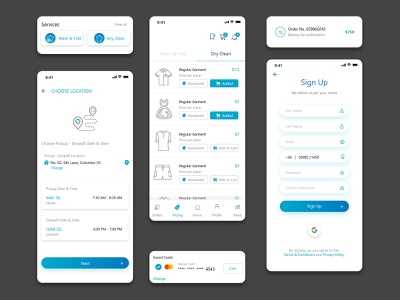 Laundry and Dry Cleaning Mobile App Design app ui app uiux mobile app uiuxdesign app design
