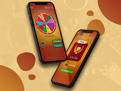 Spinning Wheel Mobile App Design game spin wheel app mobile app game game app design uiux app uiux game app design