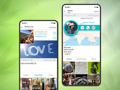Social media networking app for the cannabis community social media networking app social media app design app uiux app desing uiuxdesign mobile app ui