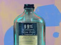Isopropyl Rubbing Alcohol painting textures packaging coronavirus covid19 medicine alcohol procreate illustration vintage antique
