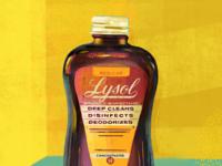 Lysol procreate textures vintage coronavirus covid19 medicine lysol antique typography packaging illustration