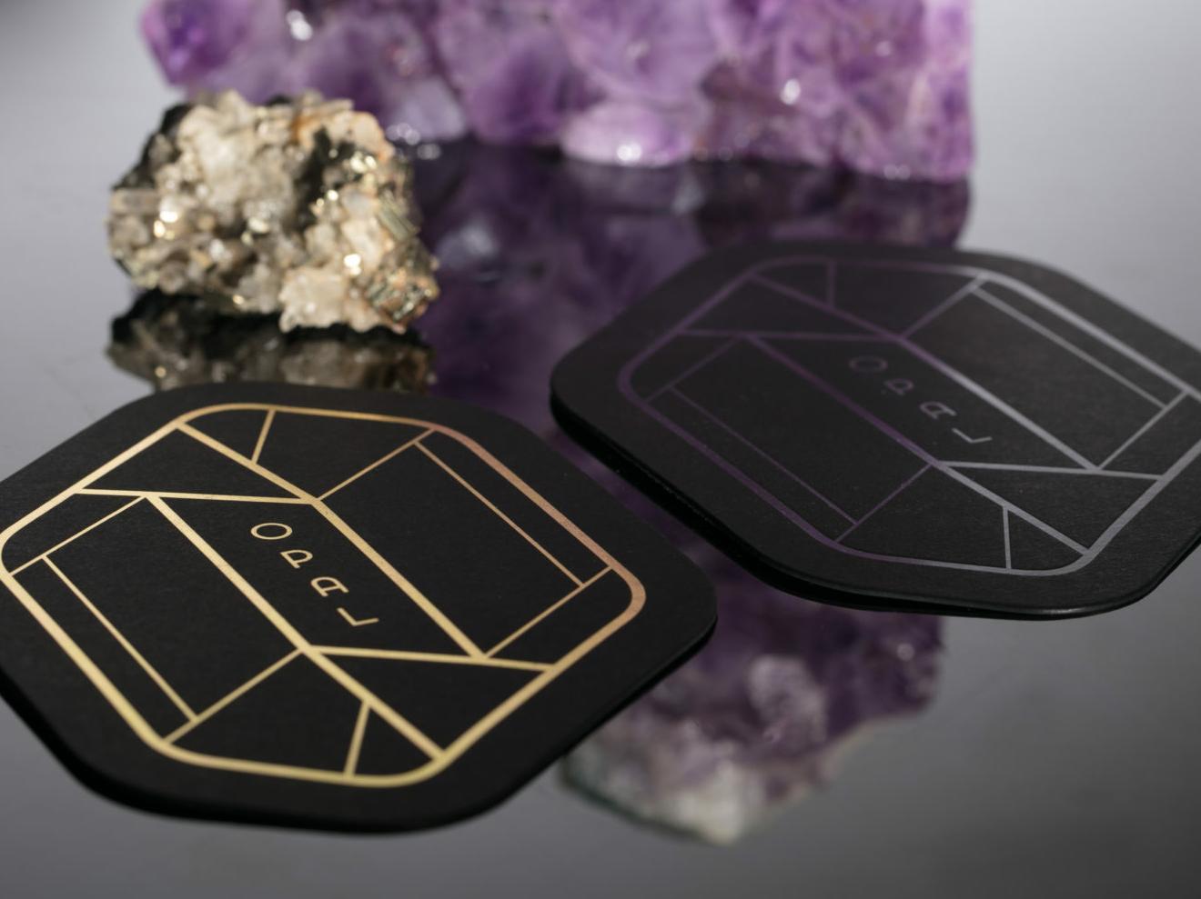 Opal emboss foil gold logo typography branding coaster