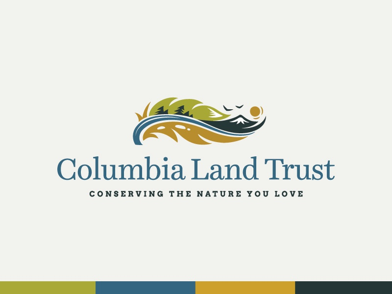 Columbia Land Trust trees birds hills mountain landscape rugged outdoors sustainable environment illustration logo typography branding