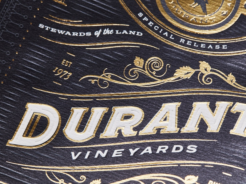 Durant 45th Anniversary Magnum wine label winery vineyard durant gourmet artisan luxury estate wine ornate flourishes gold foil emboss oregon packaging gold food logo typography branding