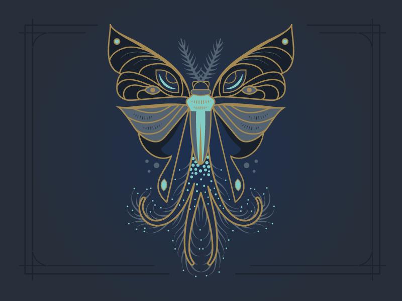 Moth No. 1 wings antenna coremata specimen fantastical bug insect moth vector illustration