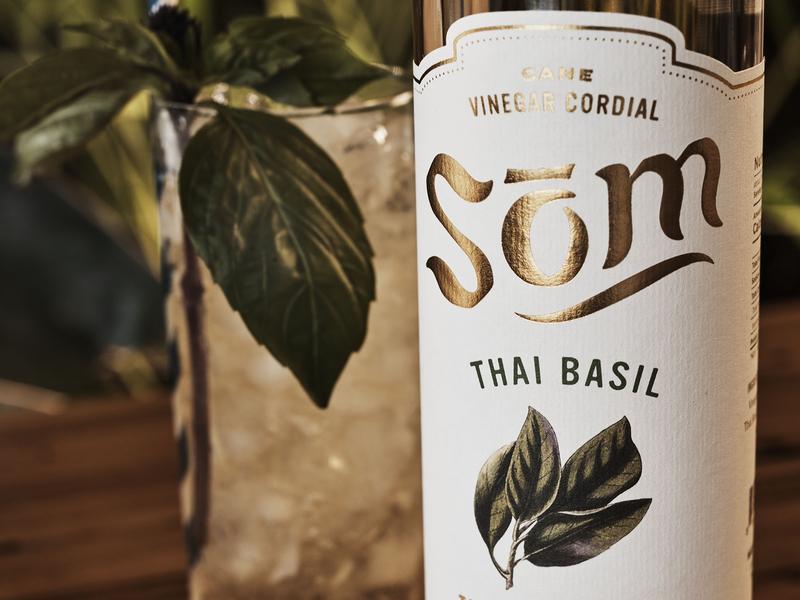 Som Cordial Packaging tiki tropical botanical drinking vinegar beverage thai gold foil artisan illustration oregon packaging gold food logo typography branding