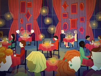 Alone evening illustration