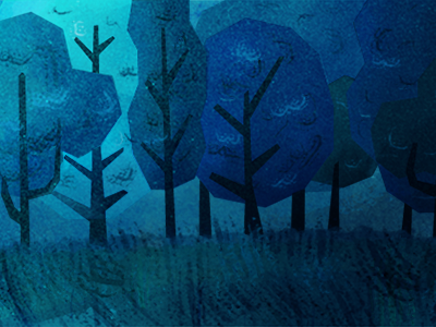 Blue Forest scenery illustration forest nature trees