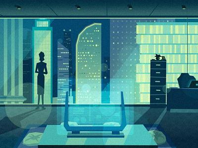 Working Late contemporary modern architecture cityscape city futuristic scifi technology office corporate illustration corporate illustration