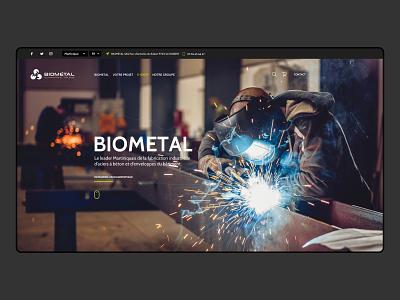 Bio Metal asymmetric corporate uidesign landing page