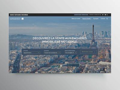 Immo Notaires Enchères webdesign webpage landing page ui design corporate real estate sales auction estate