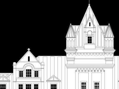 Save the Tennessee State Prison prison architecture line art illustration