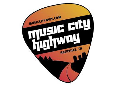 Music City Highway logo branding skyline gradient typography guitar music city nashville