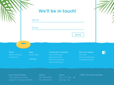 Len's Pool and Spa Footer footer uiux user experience design user interface design