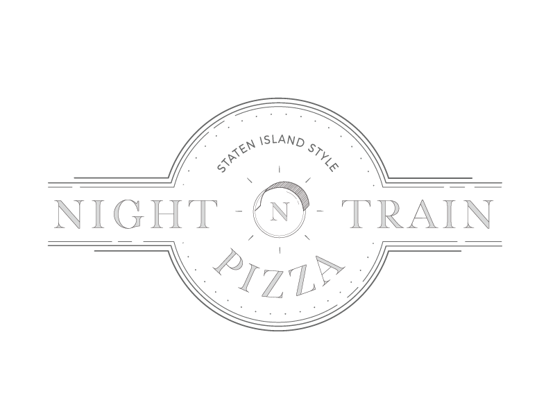 Night Train Pizza Logo lines lineart branding logo pizza train night