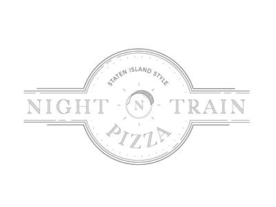 Night Train Pizza Logo lines lineart branding logo pizza train night