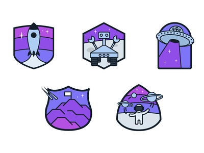 Space Badges rocket rover alien icon badge space