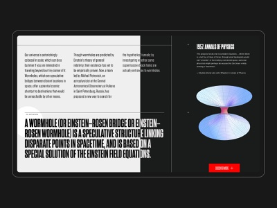 Supermassive black holes. Concept. modernism modern tungsten clean minimal space gray white black wormhole website ux ui