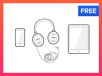 Free Illustrations - iPhone, Headphones, iPad, iMac